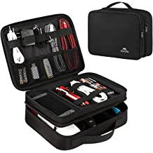 Double Layer Portable Tech Gear Phone Accessories Storage Carrying Travel Case Bag Travel Universal Cable Cord Electronic Organizer Bag Grey iPad//Hard Drives//USB//Phone//SD Card