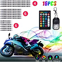 12Pcs Motorcycle LED Light Kit Strips,TACHICO Multi-Color Accent Glow Neon Ground Effect Atmosphere Lights Lamp with Wireless RF Remote Controller for Harley Davidson Honda Suzuki Ducati Polar