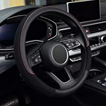 ZHOL Universal 15 inch Steering Wheel Cover Elastic Ice Silk Feels Lubrication Odorless Breathable Warm in Winter and Cool in Summer Black Color Anti-Slip
