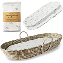 Fairtrade Soft Organic Cotton Waterproof Pad Baby Changing Basket Handmade Seagrass Basket Best for Nursery Table and Storage Eco Friendly Alternative to Traditional Changing Pad