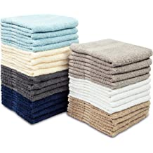 HOTEL QUALITY COTTON BLENDED FACE TOWEL 12 PACK WHITE WASH CLOTHS 12x12 INCHES