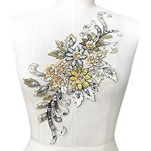 Black 1Pair 42X23cm Delicate Wedding Sequins Head Ornaments Body Lace Applique Ivory Dress DIY Lace Trim Dress DIY Lace