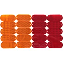 RVs and Buses 10 Pack Sydien Red Rectangular Stick-On//Screw-Mount Reflector with Chrome Plastic Trim for Trucks,Trailers