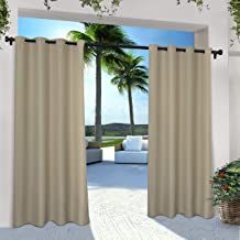 Thermal Insulated Solid Tab Loop Top Single Curtains Drape for Pergola(50 x 120,Beige) Indoor//Outdoor Curtain Panel